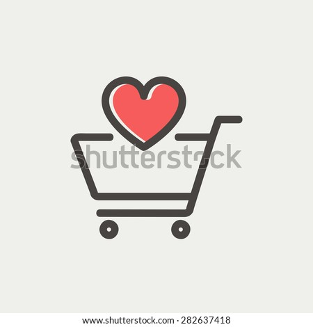 shopping cart with heart icon