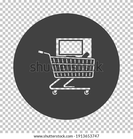 Shopping Cart With PC Icon. Subtract Stencil Design on Tranparency Grid. Vector Illustration.