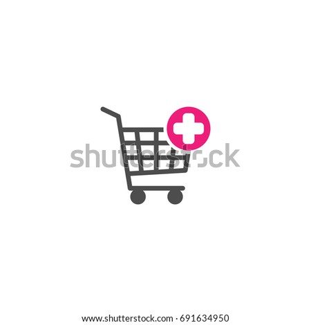 Shopping cart with pink cross sign. Add or plus purchase simple icon isolated on white background. Store trolley with wheels. Flat vector Illustration. Good for web and mobile design.