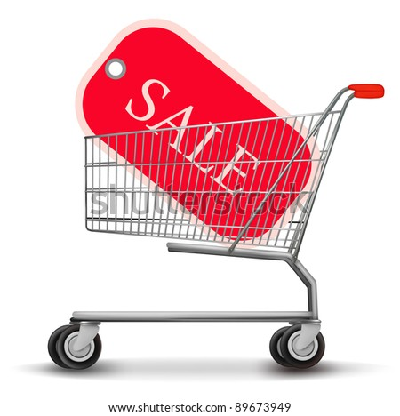 Shopping cart with sale tag. Concept of discount. Vector illustration.