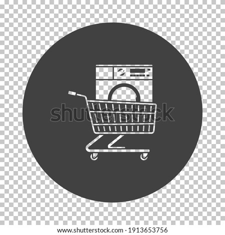 Shopping Cart With Washing Machine Icon. Subtract Stencil Design on Tranparency Grid. Vector Illustration.