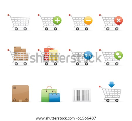Shopping Carts icon set 21 - Glossy Series.  Vector EPS 8 format, easy to edit. - stock vector