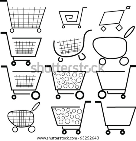 Shopping carts icons - stock vector