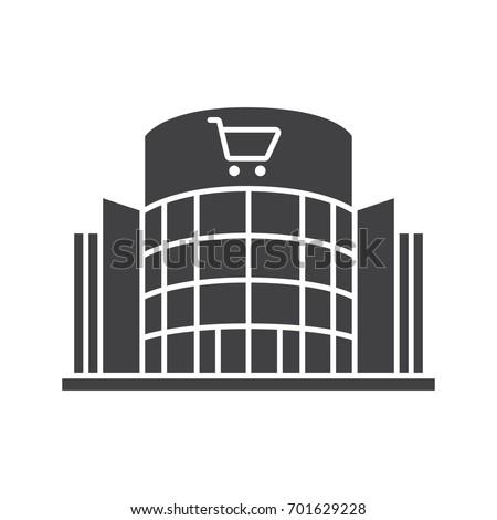Shopping center glyph icon. Silhouette symbol. Emporium. Negative space. Vector isolated illustration