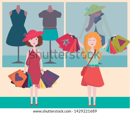 Shopping Center, shoppers, customers, sales, season sale banner, offers, stores, clothes store. Fashion store