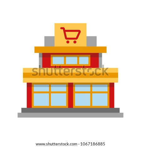 Shopping centre flat design long shadow color icon. Mall building. Vector silhouette illustration