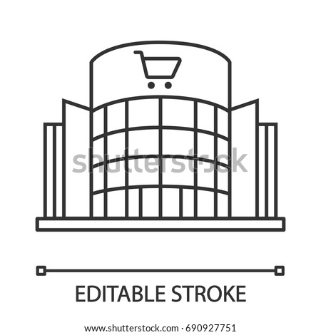 Shopping centre linear icon. Mall building. Thin line illustration. Supermarket contour symbol. Vector isolated outline drawing. Editable stroke Foto d'archivio ©
