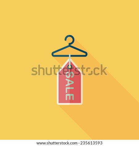 Shutterstock shopping clothes hanger flat icon with long shadow,eps10