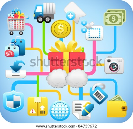 shopping,cloud computing,network concept