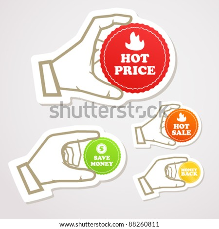 Shopping colorful discount labels in a hand vector illustration