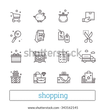 Shopping, commerce, retail thin line icons. Shop  symbols: coupons, wish list, delivery track, cash back, goods and gifts. Modern vector design elements. Isolated on white.