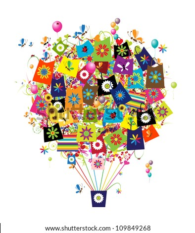 Shopping concept, air balloon with bags for your design