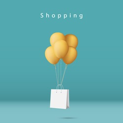 Shopping concept minimal background. shopping bag with yellow balloons in blue studio.
