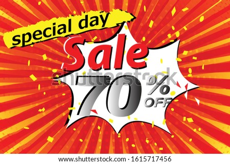 Shopping day sale banner background. sale poster template. big sales, Grand sales, Super sales, expression pop art comic speech bubble business, Fasion, 70%. Vector illustration