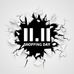 Shopping day 11.11 sale banner. Cracked hole. Abstract explosion. Vector illustration