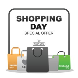 Shopping day special offer vector good for campaign, background, post feed, advertising, promotion. Shopping bag vector.