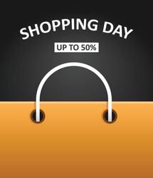 Shopping day vector headline. Discount up to 50%. Paper bag vector. Good for campaign, post feed, background, advertising, poster.