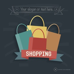 Shopping design on blackboard background,clean vector