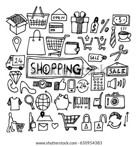 shopping doodle sketch vector ink