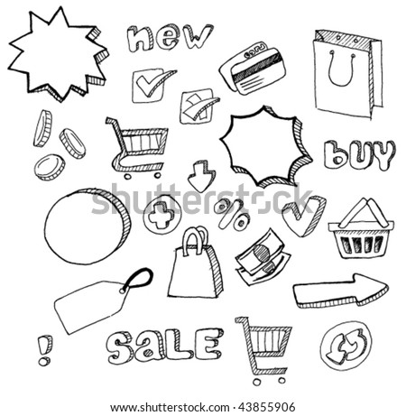 shopping doodles hand drawn set
