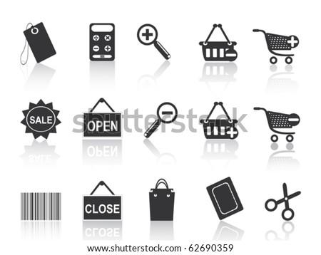 shopping e-commerce black icon set