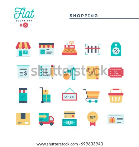 Shopping, e-commerce, delivery and more, thin line icons set, vector illustration