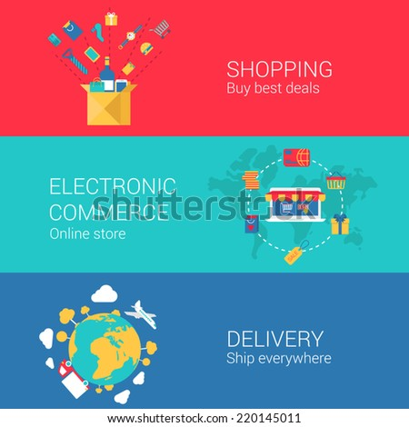 Shopping e-commerce delivery concept flat icons set of online order electronic store shipment and vector web banners illustration print materials website click infographics elements collection