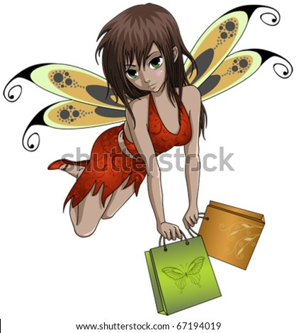 shopping fairy with bags