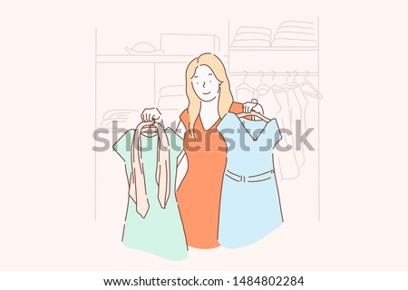 Shopping, fashion, dress, clothes concept. A young girl chooses, measures, sells or buys fashion dresses at a clothing store or home. Simple flat vector.