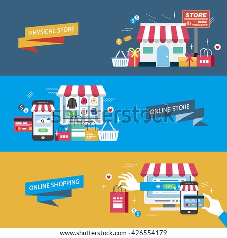 shopping flat design illustration - physical store. online store and online shopping