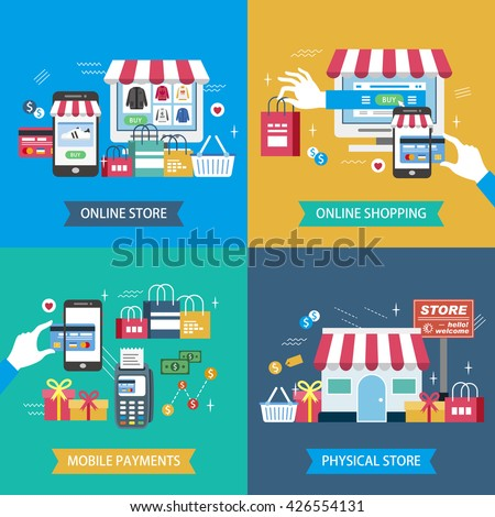 shopping flat design illustration - physical store. online store. mobile payments and online shopping