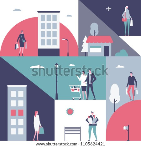 Shopping - flat design style illustration. Cartoon characters, women, men standing with their packages, trolley, baskets full of products. Unusual geometric composition