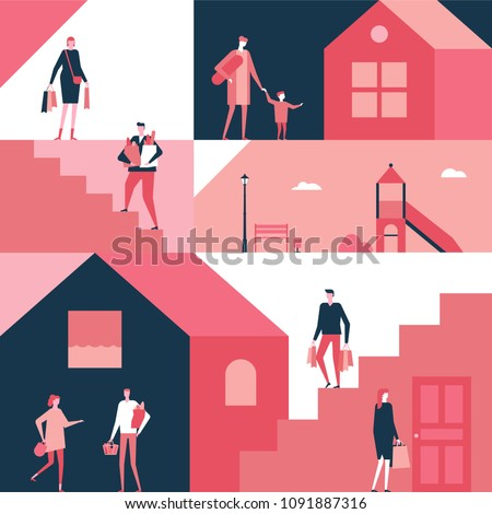 Shopping - flat design style illustration. Cartoon women, men and children standing with their packages, trolley, baskets full of products. Unusual geometric composition with playground, stairs