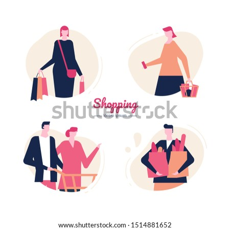 Shopping - flat design style vector characters set. Customers doing purchases, consumers choosing goods in supermarket illustrations. Buyers with bags, basket, trolley. Consumerism and merchandise