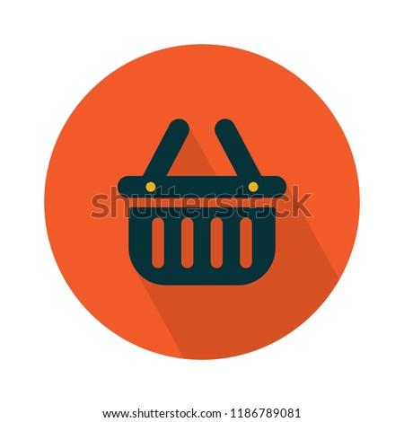 shopping flat icon - vector shopping basket icon. shopping illustration, online shopping market