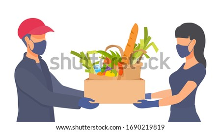 Shopping fresh meal from home isolation. People wear masks, gloves. Protective measures under the conditions of coronavirus. Sickness prevention. Vector flat cartoon illustration on white background.
