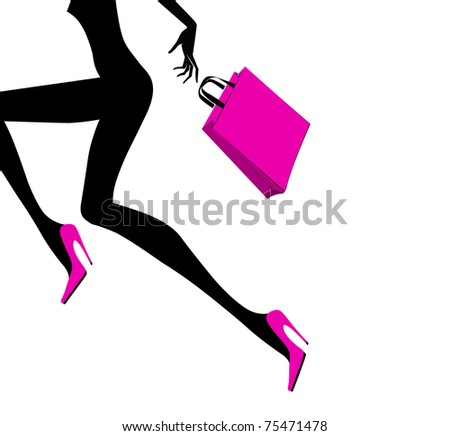 Shopping girl - stock vector