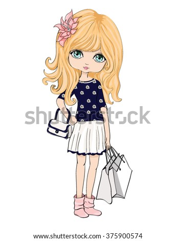Shopping Girl Girl Vector Girl Illustration Girl Print Romantic Girl Illustration Fashion Girl