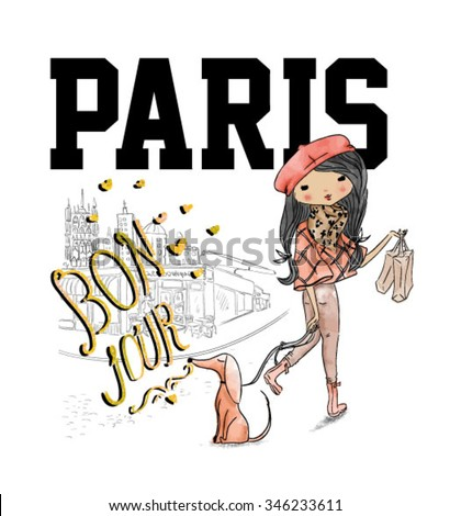 shopping girl with dog and paris
