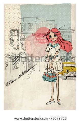 shopping girl with taxi city