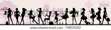 Shopping girls. All elements and textures are individual objects. Vector illustration scale to any size.