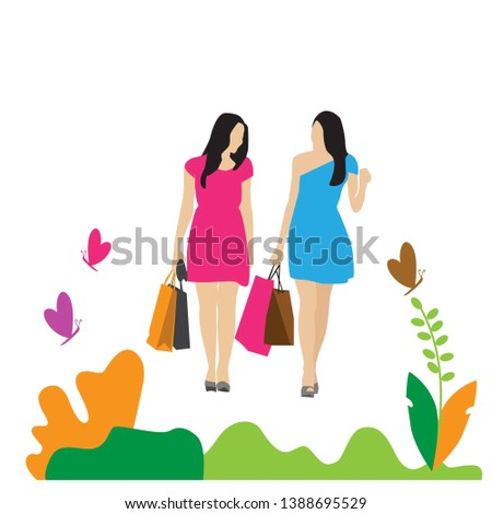 shopping girls flat design