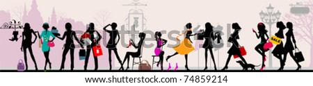 Shopping girls, Paris.  All elements and textures are individual objects. Vector illustration scale to any size.