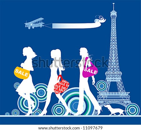 Shopping girls, Paris, vector illustration. - stock vector