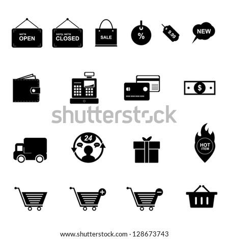 Shopping Icon set Black and White