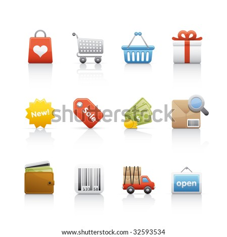 Shopping Icon set for multiple applications In Adobe Illustrator EPS 8