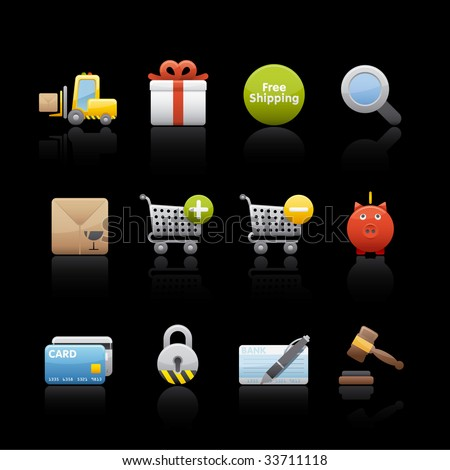 Shopping Icon Set for multiple applications. In Adobe Illustrator EPS 8.