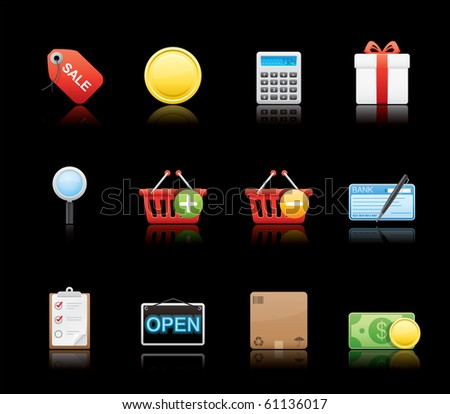 Shopping icon set 22 - Glossy Black Series.  Vector EPS 8 format, easy to edit.