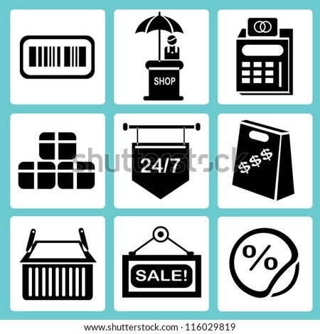 shopping icon set, marketing icon set, e commerce icon set