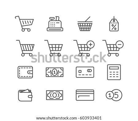 Shopping icon set. Online store icons. Linear vector illustration